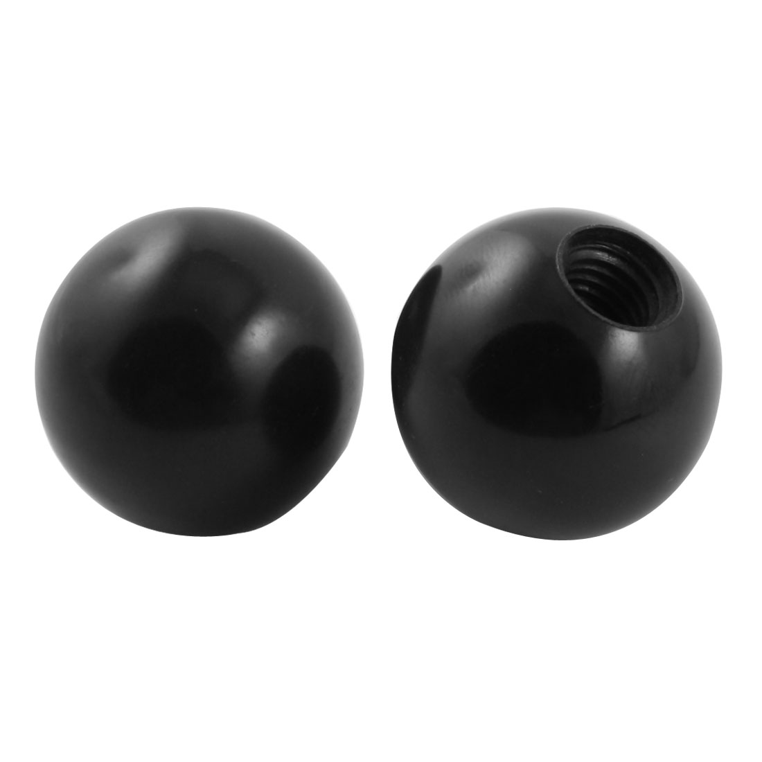 2Pcs 32mm Diameter Plastic Ball w M10 Threaded Blind Hole Handling Knob Black