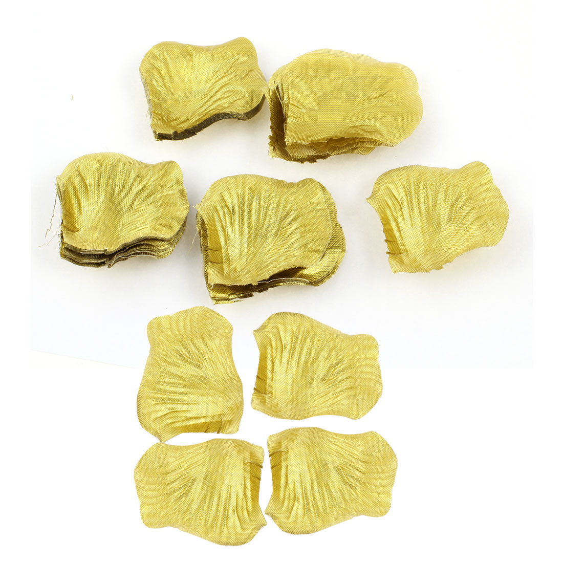 100 Pcs Fabric Rose Floral Petals Bridal Party Embellishment Gold Tone