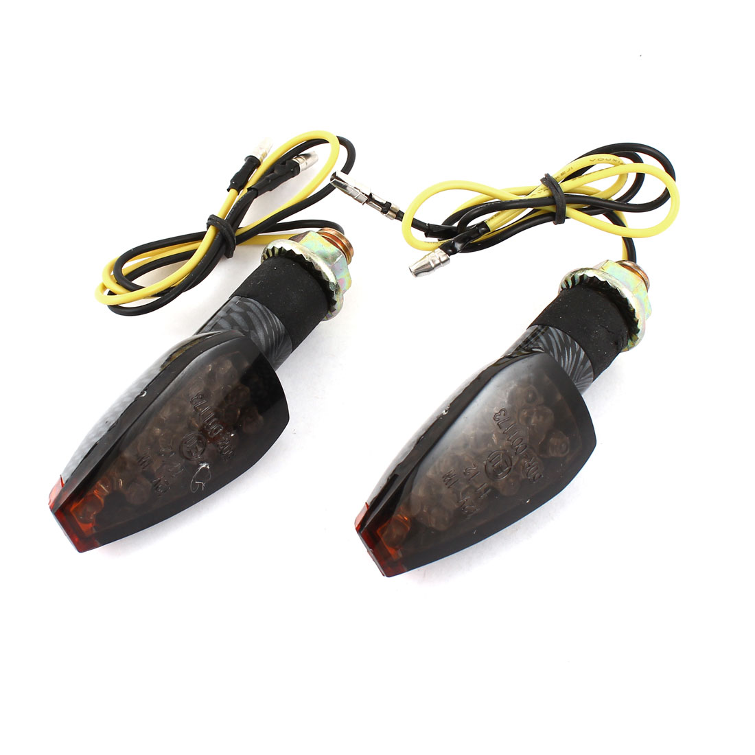 2 Pcs DC 12V Yellow 14 LED 9.35mm Bolt Dia Turn Signal Light Indicator Lamps for Motorcycle