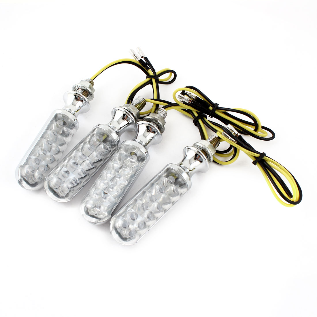4 Pcs DC 12V Yellow 12 LED 8mm Bolt Dia Turn Signal Light Indicator Lamps for Motorcycle