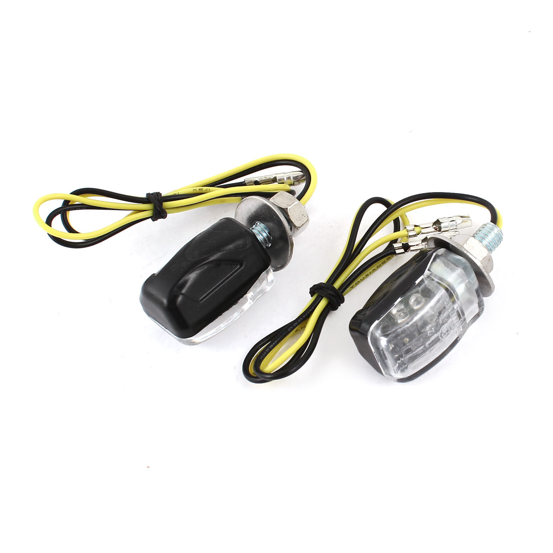 2 Pcs DC 12V Yellow 6 LED 6mm Bolt Dia Turn Light Indicator Lamps for Motorcycle
