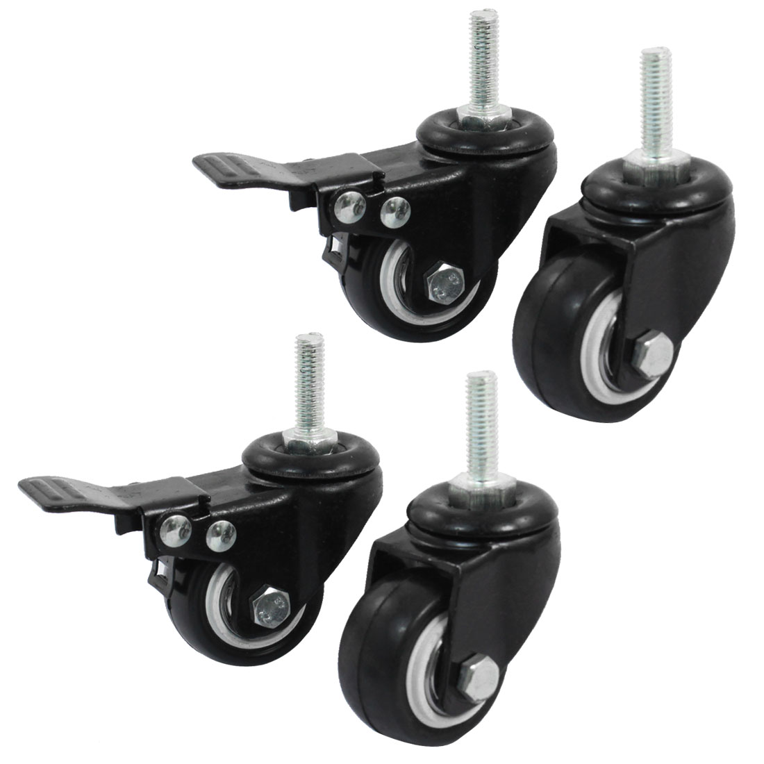 "8mm Thread 1.5"" Wheel Rotatable Shopping Trolley Brake Swivel Caster Black 4pcs"