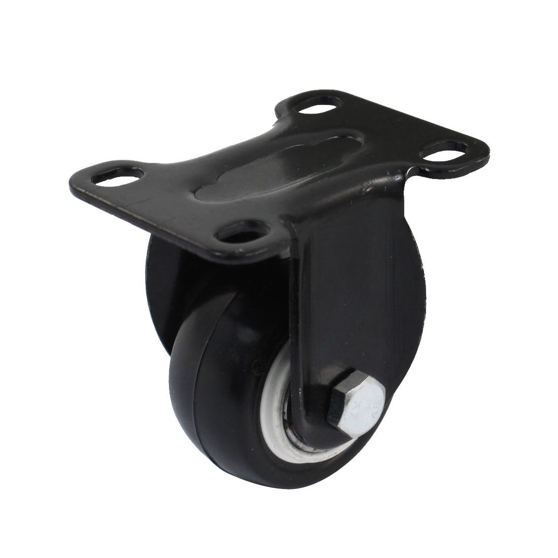 "Market Shopping Trolley 1.5"" Round Wheel Fixed Top Plate Caster Black"