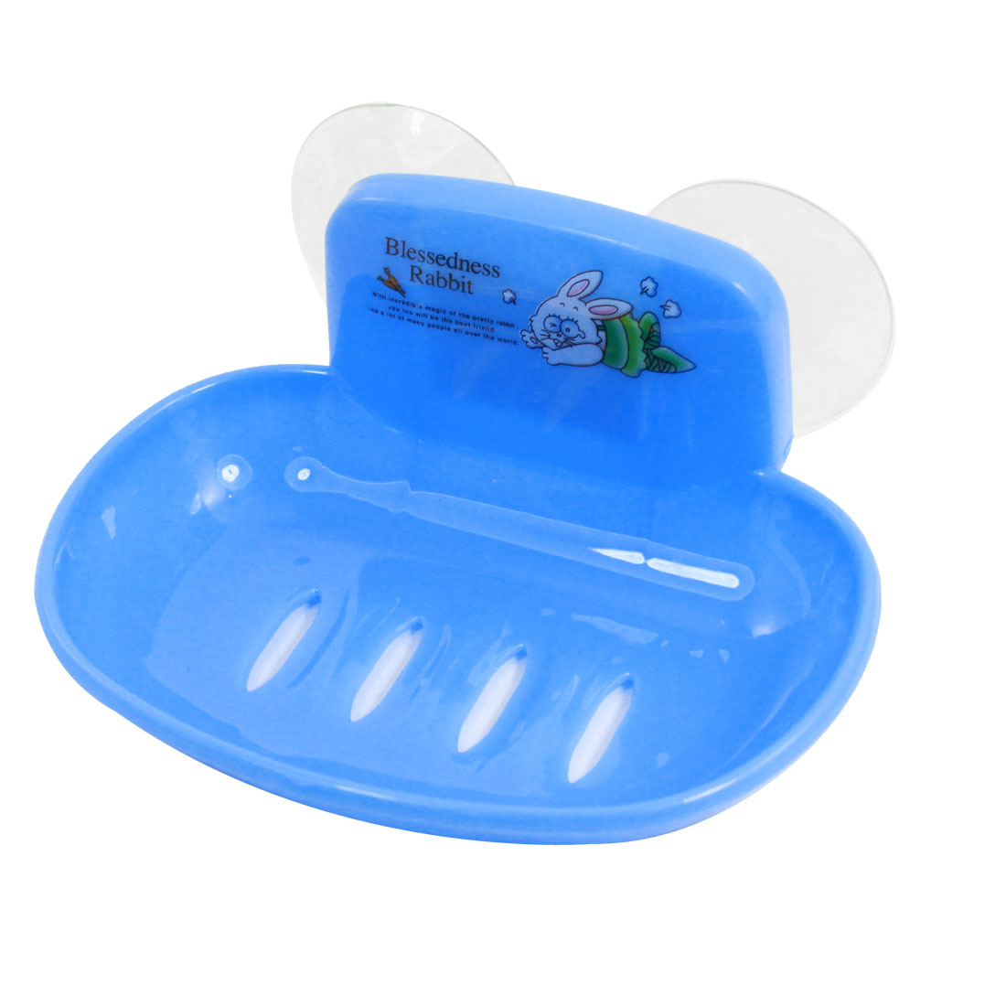 Bathroom Rabbit Pattern Blue Plastic Single Soap Holder Dish Case Box w Suction Cup