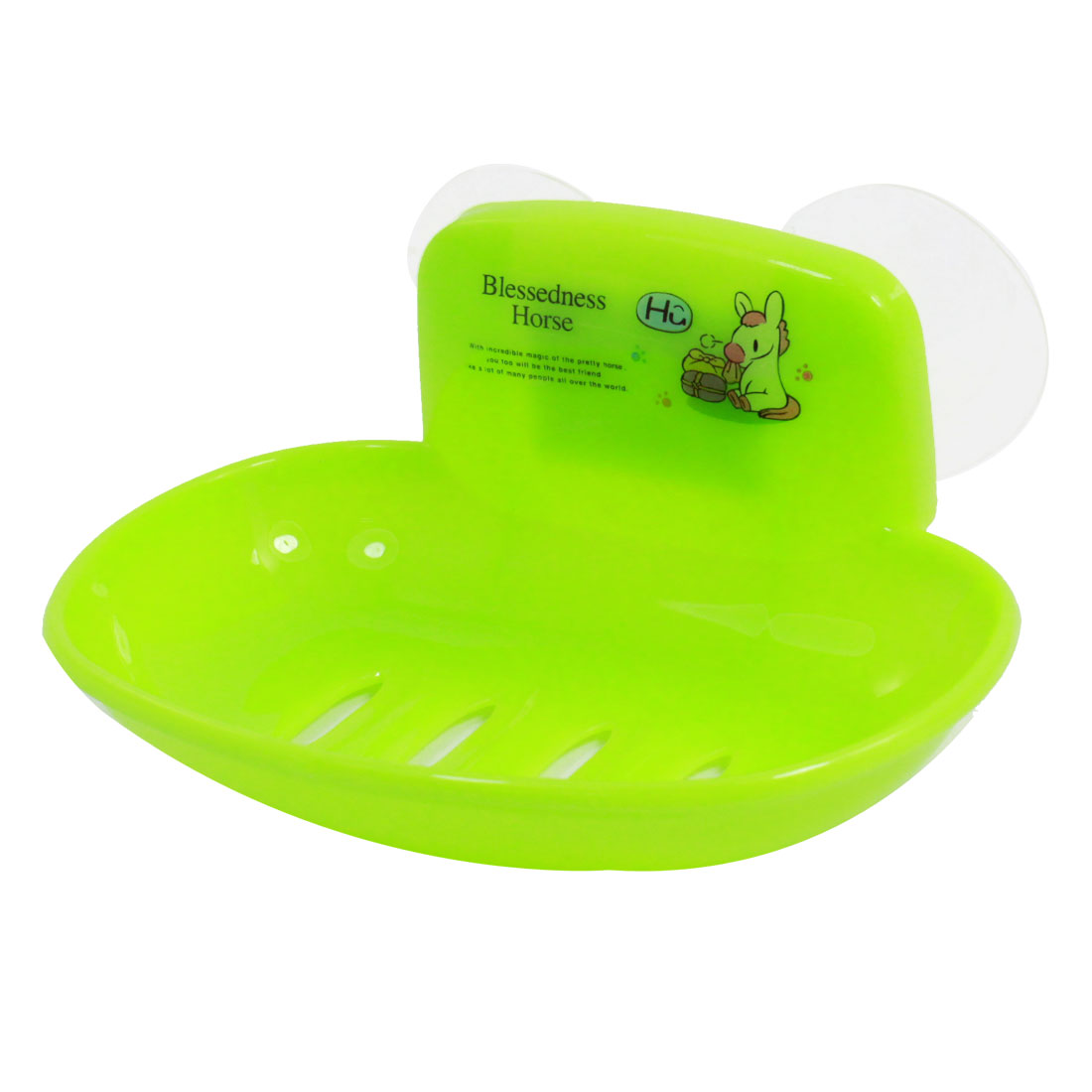 Bathroom Green Horse Pattern Plastic Single Soap Holder Dish Case Box w Suction Cup