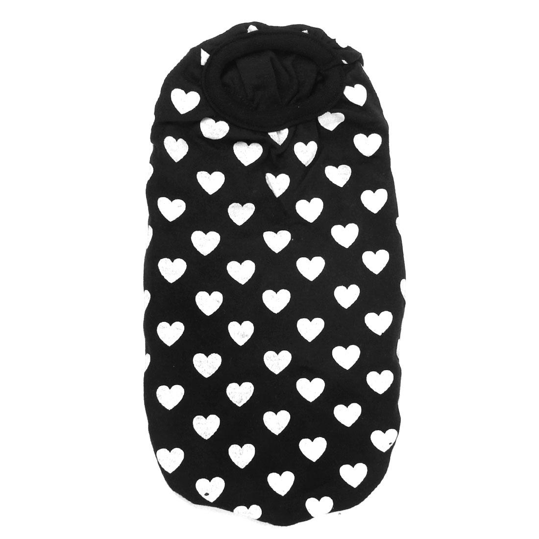 Heart Print Sleeveless Summer Pet Dog Doggy Tank Top Tee Shirt Black White Size XS