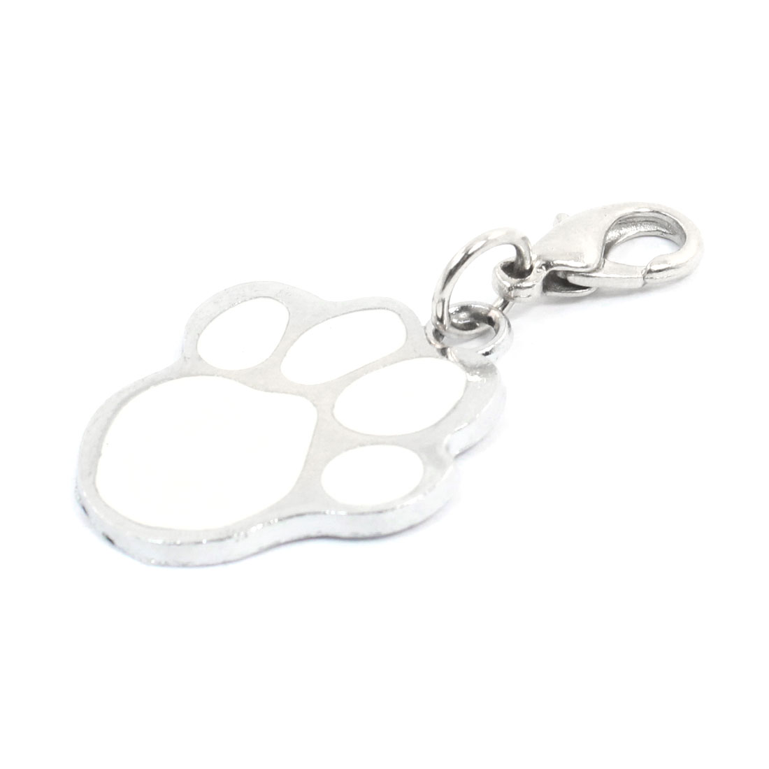 Paw Style Lobster Clasp Closure Pendant Pet Dog Cat ID Tag White