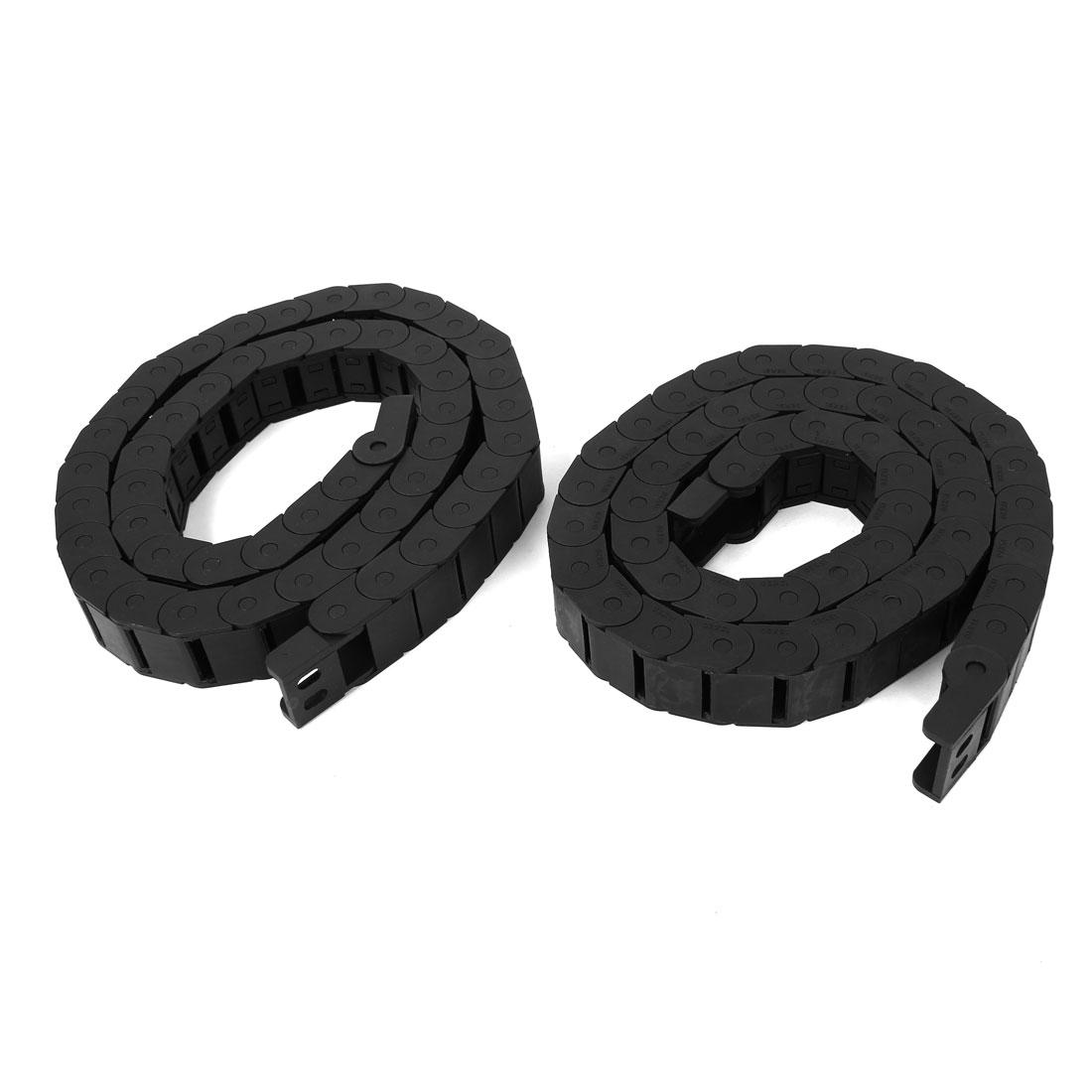 2 Pcs Black Plastic Drag Chain Cable Carrier 15 x 20mm for CNC Machine