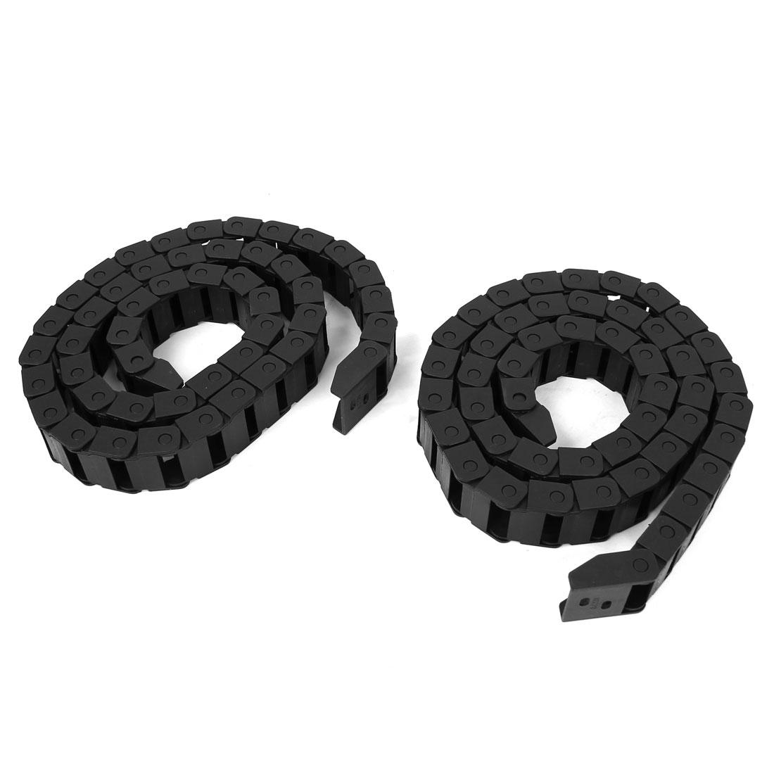 2 Pcs Black Plastic Drag Chain Cable Carrier 10 x 20mm for CNC Machine