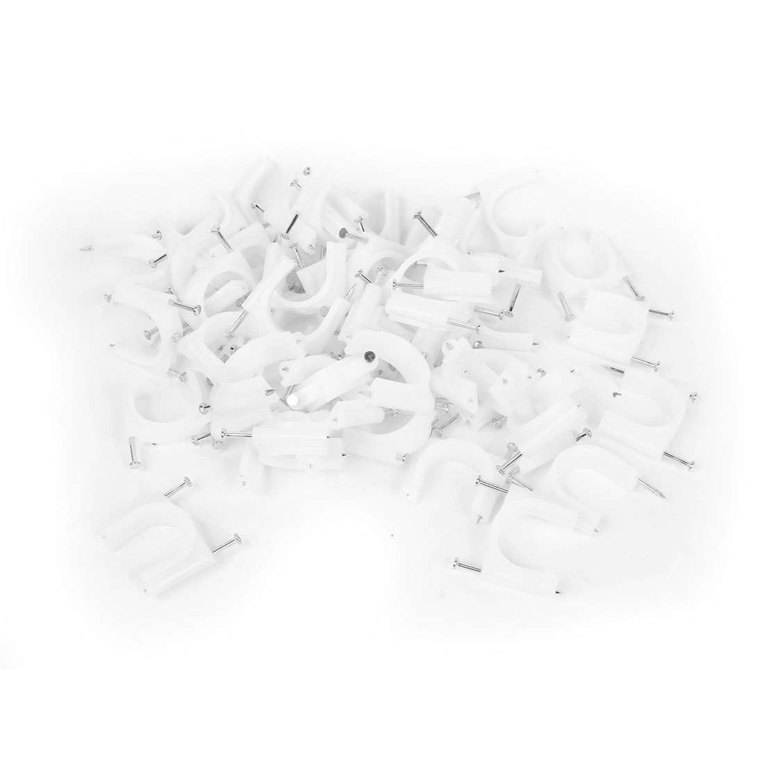 100 Pcs White Plastic 32mm Diameter Electric Cable Circle Nail Clips
