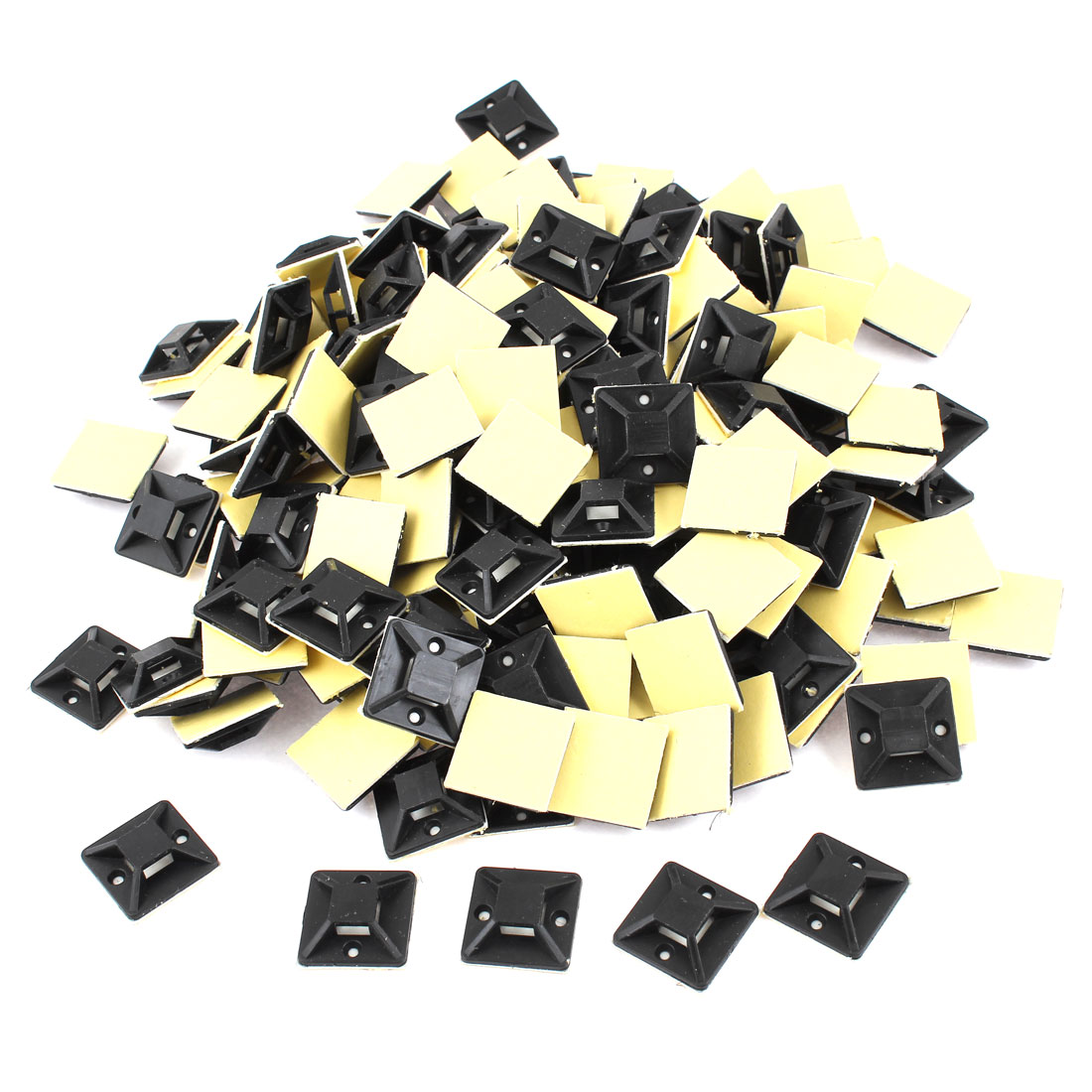 500 Pcs Black Self Adhesive Cable Tie Mount Base 25mm x 25mm