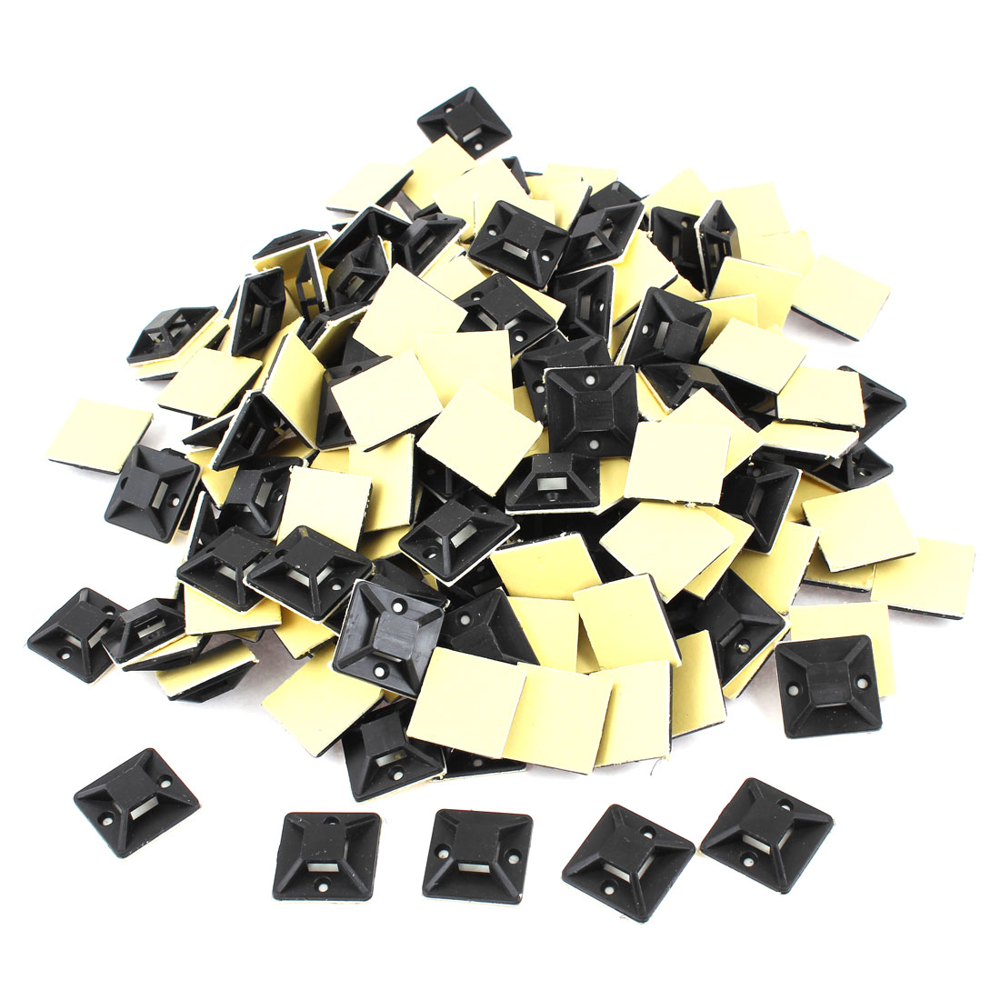 1000 Pcs Black Self Adhesive Cable Tie Mount Base 20mm x 20mm