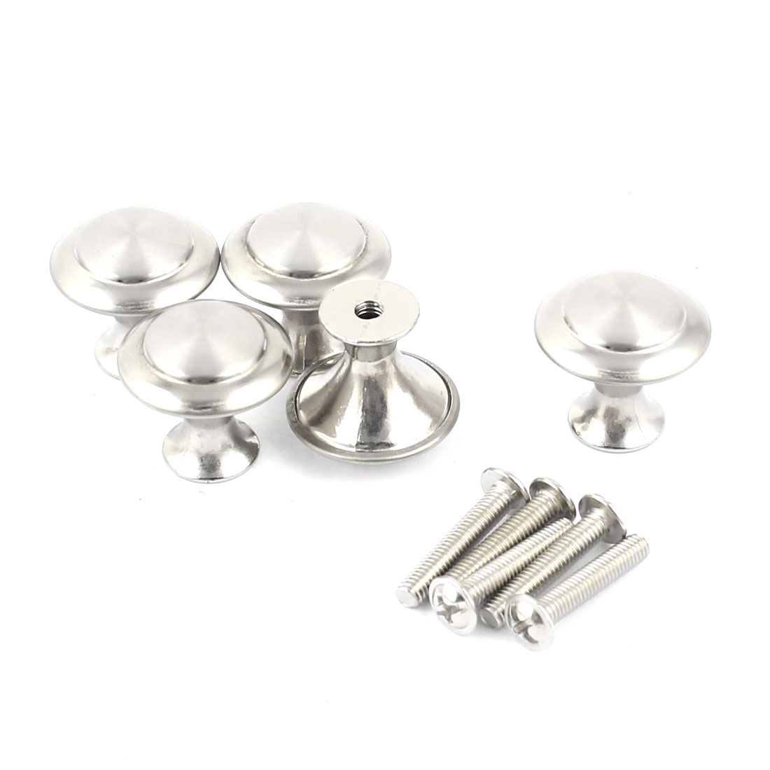 "Cabinet Stainless Steel 0.94"" Dia Round Pull Knob Handles 5 Pcs"