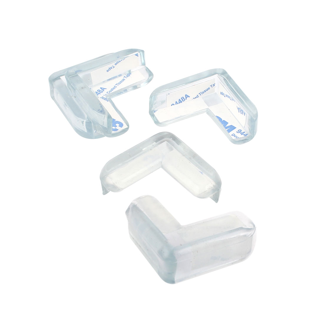 4 Pcs Clear Soft Rubber Desk Corner Pad Cover Protector Cushion