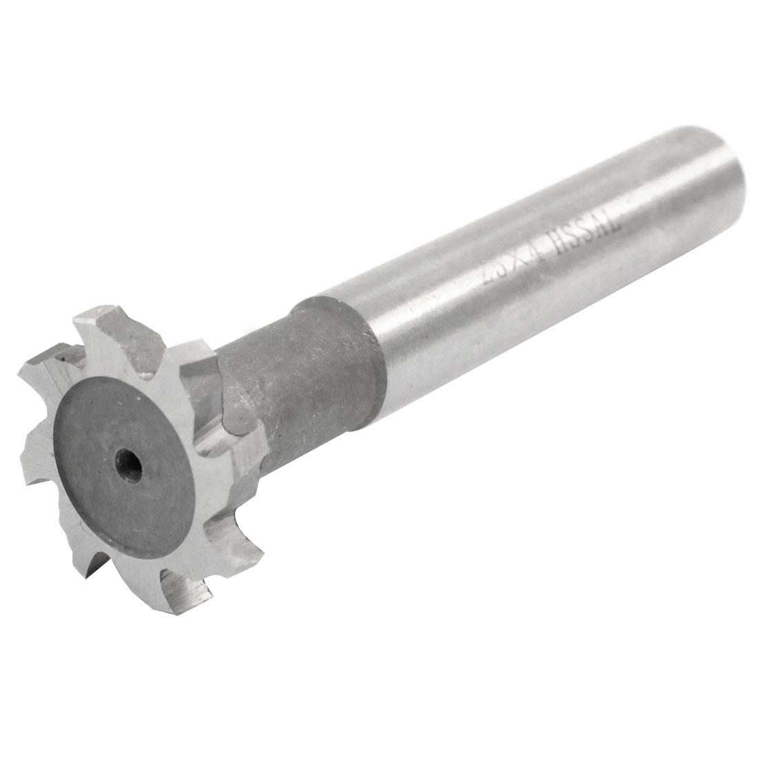 80mm Long HSSAL 8 Flutes T Slot Cutter End Milling Cutter Tool 25mm x 4mm