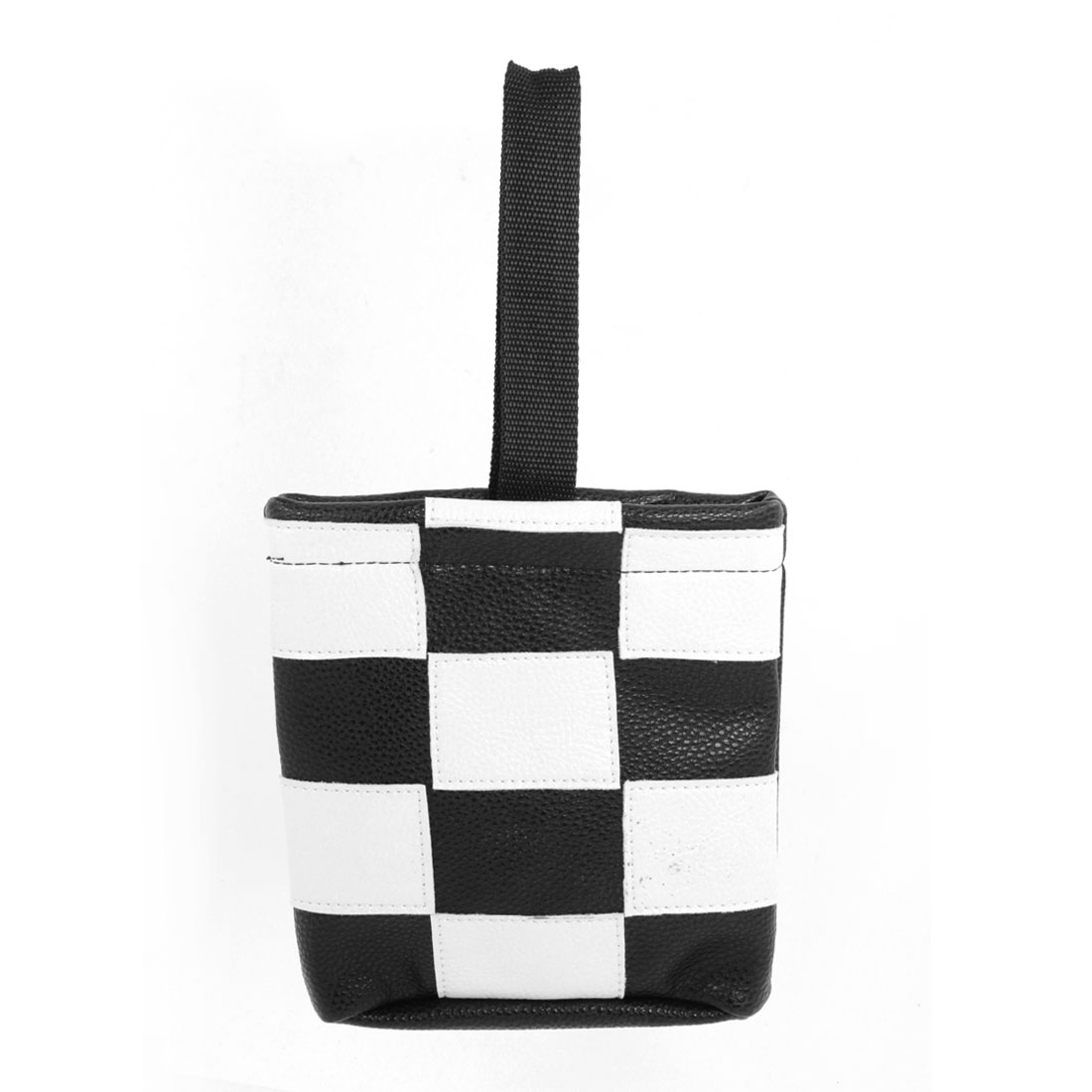 White Black Check Print Faux Leather Car Interior Cell Phone Storage Pouch