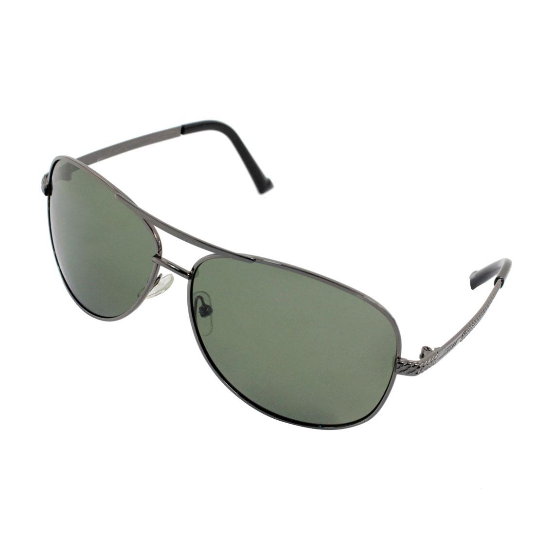 Women Men Full Rim Gray Green Lens Polarized Sunglasses w Case