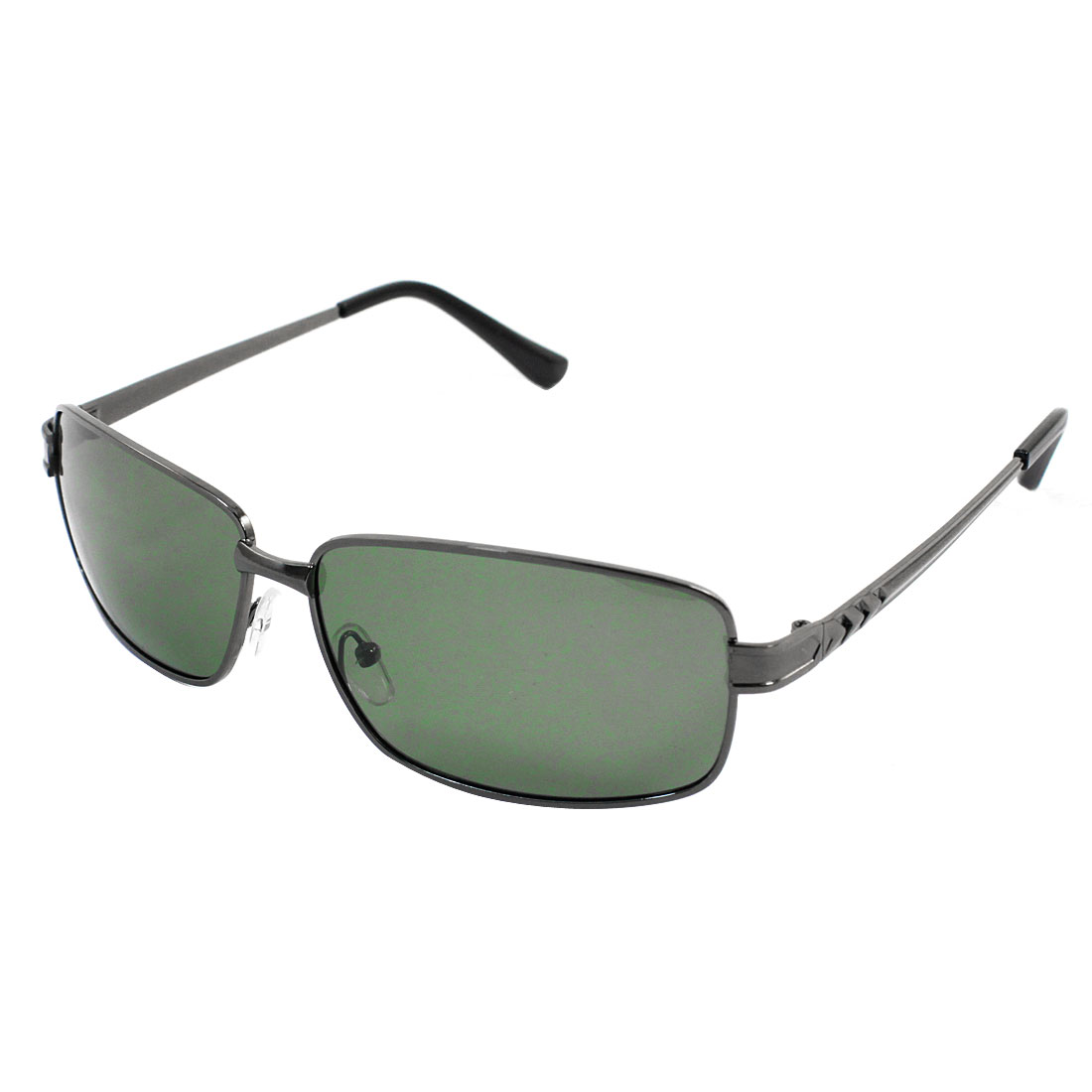 Unisex Rectangle Gray Metal Full Rim Frame Driving Polarized Sunglasses w Case