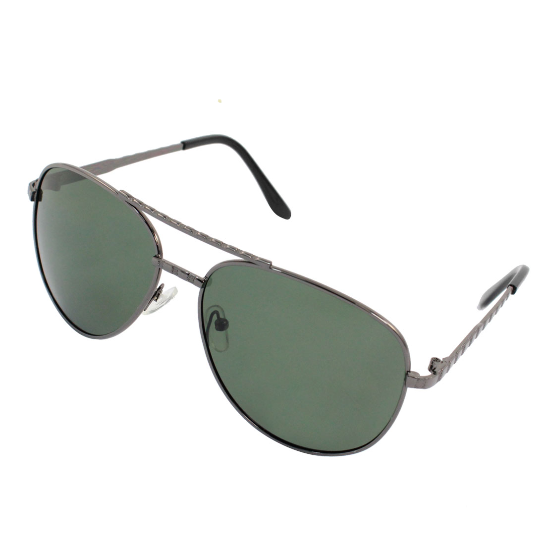 Gray Dual Bridge Metal Full Frame Polarized Glasses Sunglasses w Case