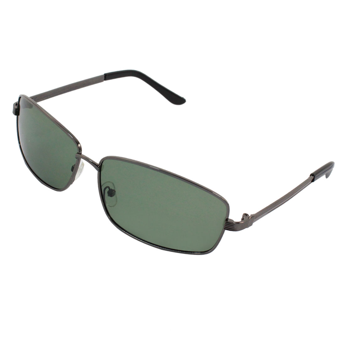 Unisex Rectangle Gray Metal Single Bridge Full Frame Polarized Sunglasses w Case