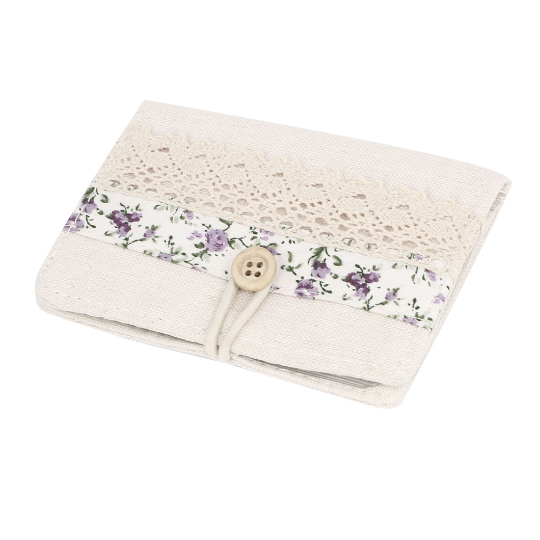 Office 10 Slots Purple Flower Pattern Business VIP Name Card Holder Beige