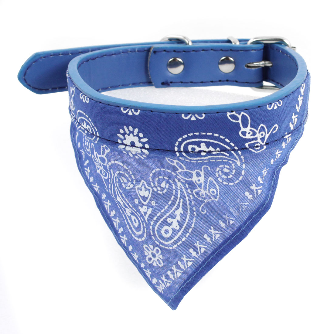 Blue Paisley Pattern Adjustable Belt Pet Dog Yorkie Scarf Bandana Neck Collar