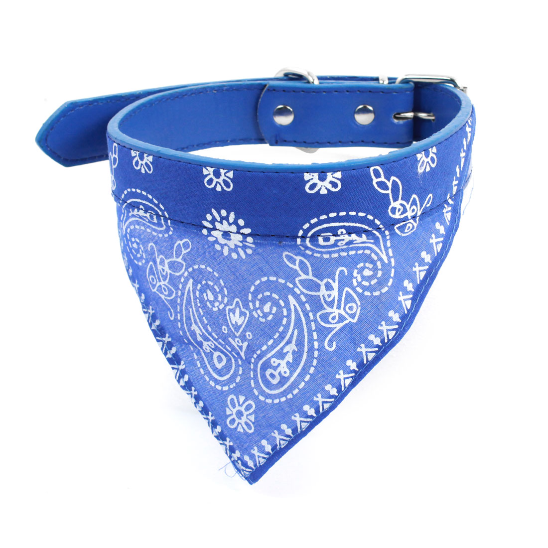 Blue Paisley Printed Adjustable Strap Pet Dog Yorkie Scarf Bandana Neck Collar