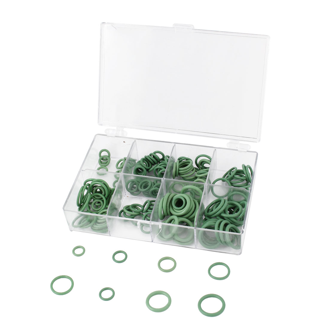 240 Pcs 8 Sizes HNBR Car Truck Air Conditioning A/C Rapid Seal O Rings Green