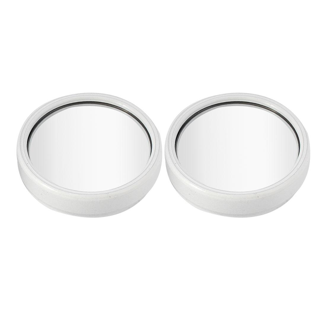 "2 Pcs Car White Plastic Adhesive Wide Angle Convex Blind Spot Mirror Rearmirror 2.2"" Dia"