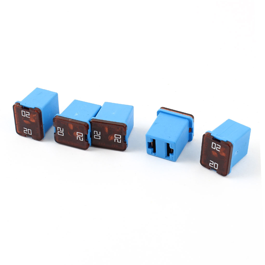5 Pcs 12V-58V 20A Car 2 Terminals Female Socket PAL Cartridge Circuit Breaker Fuse Blue