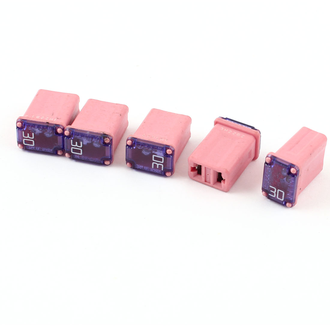 5 Pcs Pink Plastic 30A 12V-58V Female Push in Blade Cartridge PAL Fuse for Car