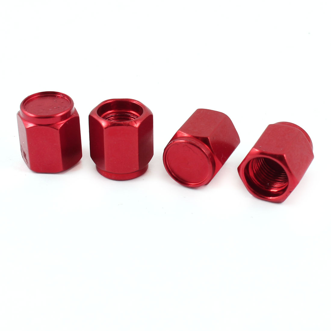 4 Pcs Red Alloy Hex Head Tire Valve Caps Protectors 7mm Inner Dia for Car