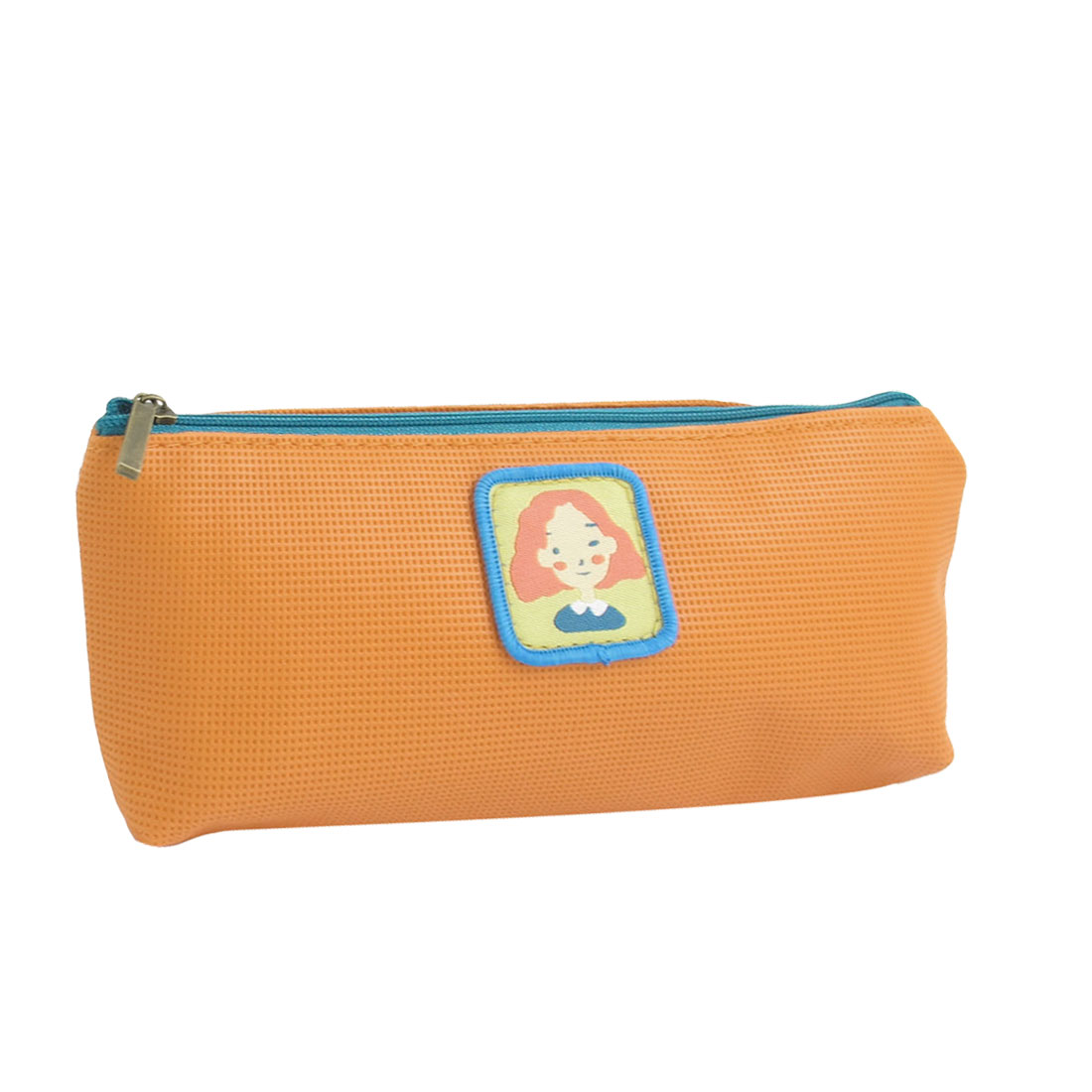 Faux Leather Zipper Closure Student Stationery Pencil Pen Bag Holder Orange