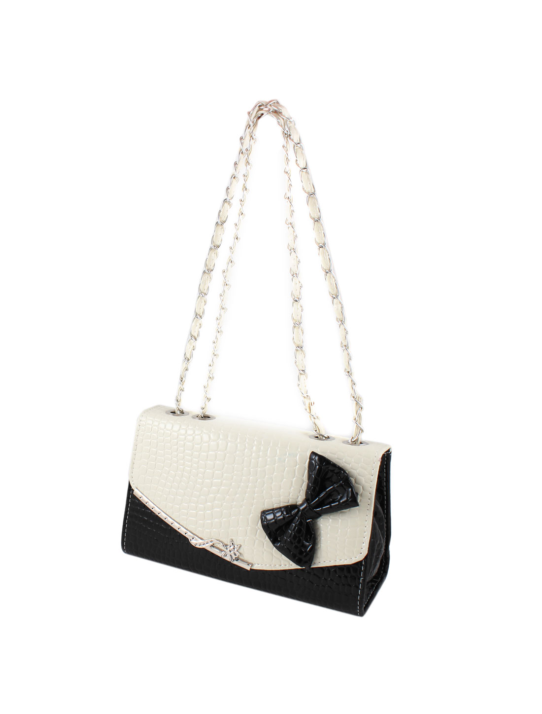 Lady Bow Tie Pattern Faux Leather 3 Layers Chain Shoulder Bag Black Beige