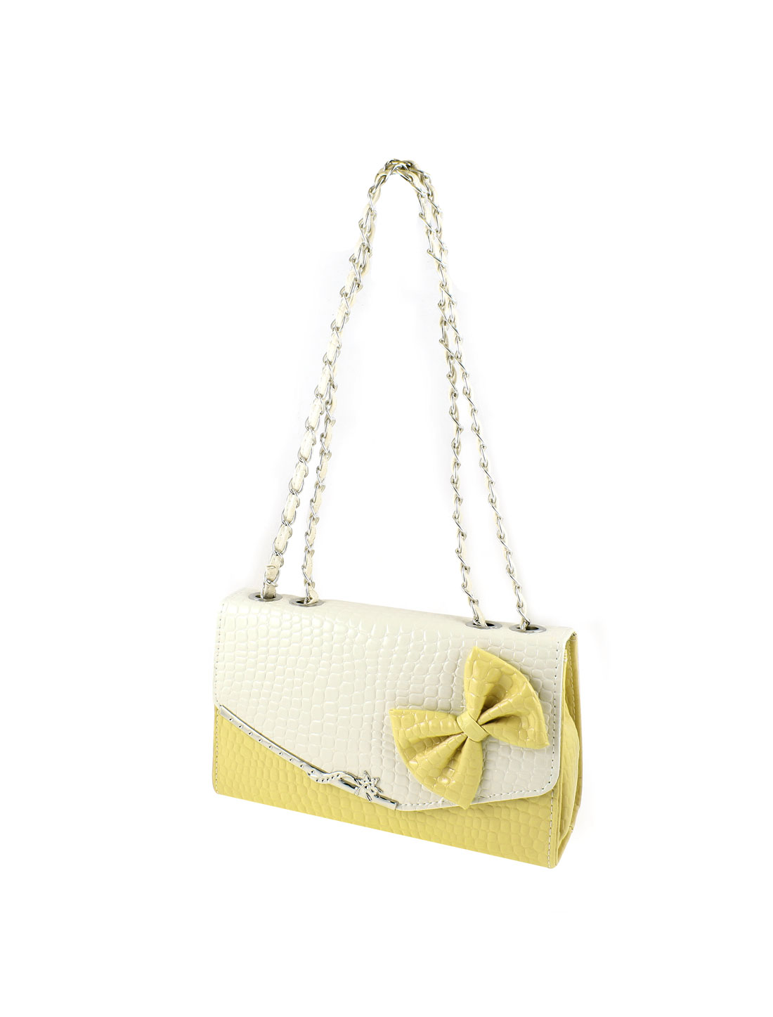 Yellow Beige Alligator Print Faux Leather Chain Shoulder Bag Purse for Ladies