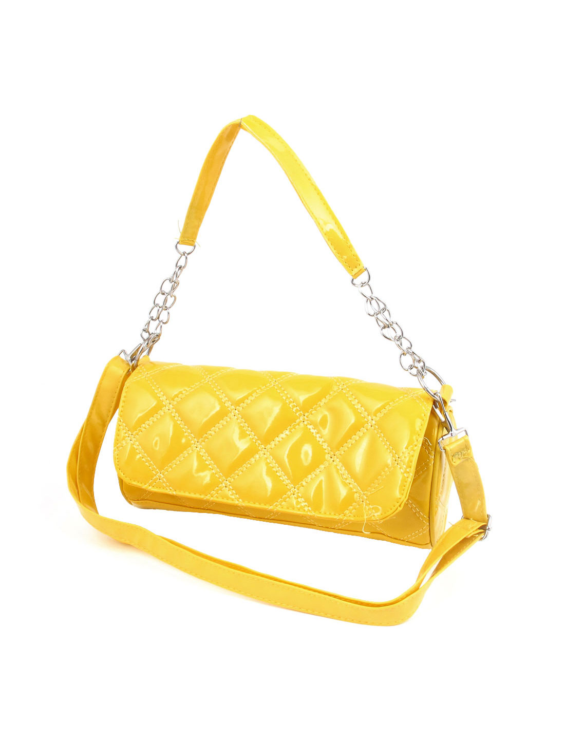 Women Yellow Rhombus Pattern Faux Leather Shoulder Bag Handbag Yellow