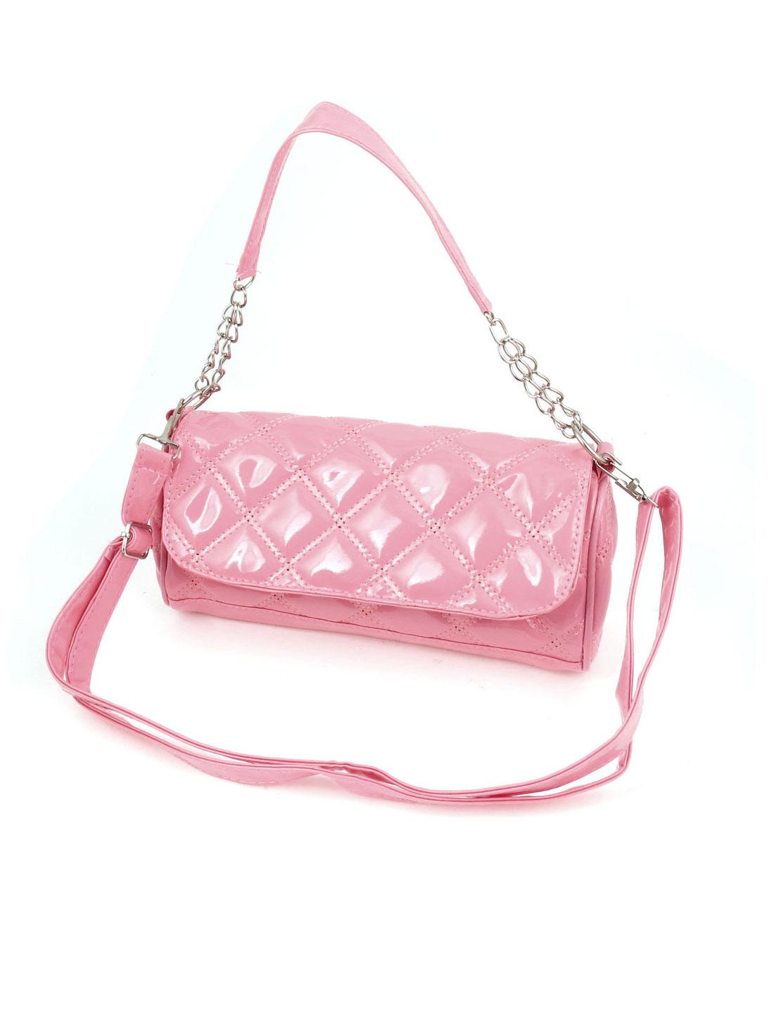 Ladies Faux Leather Metal Chain Zipper Closure Shoulder Bag Handbag Pink