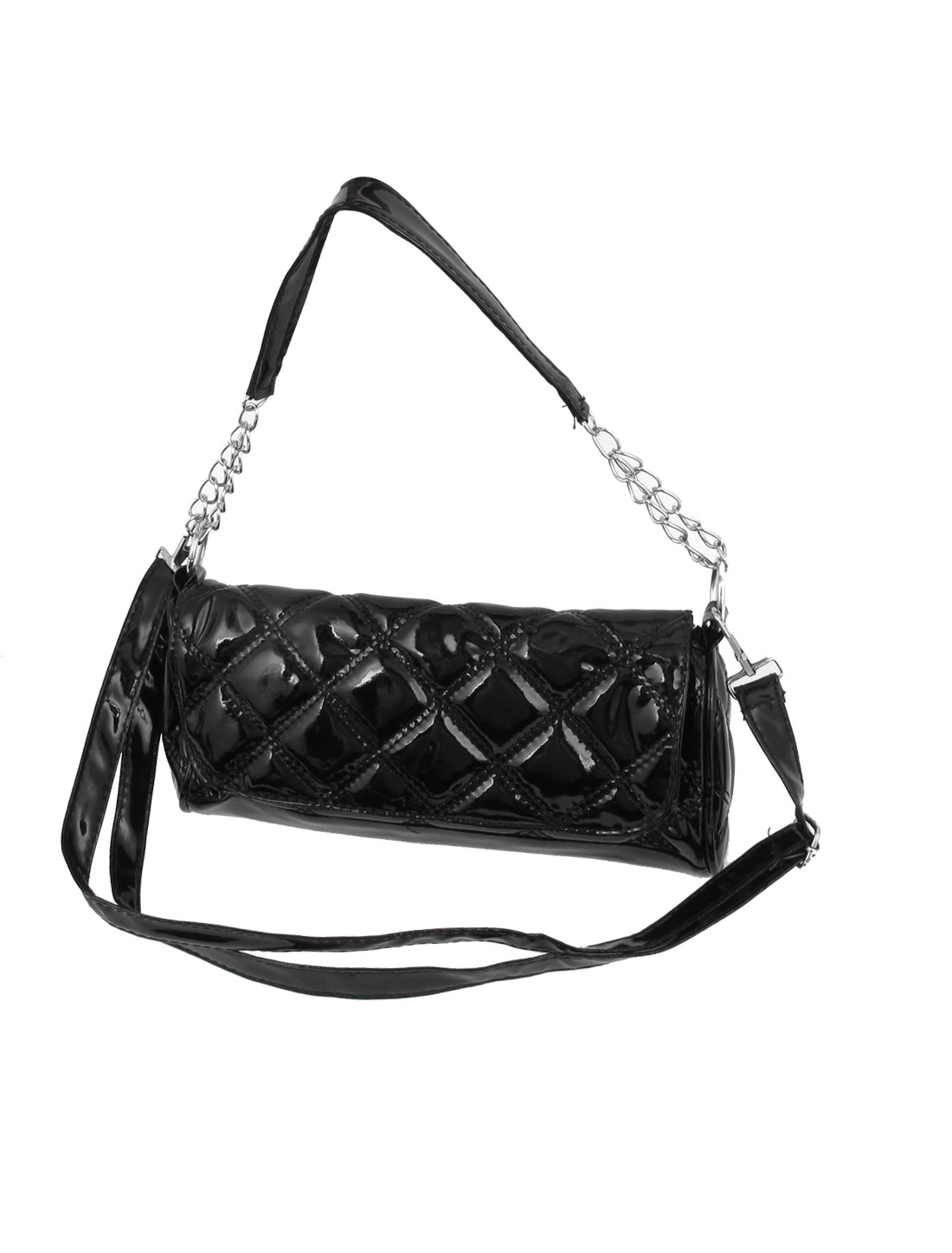 Lady Rhombus Pattern Faux Leather Strap Linked Metal Chain Purse Shoulder Bag