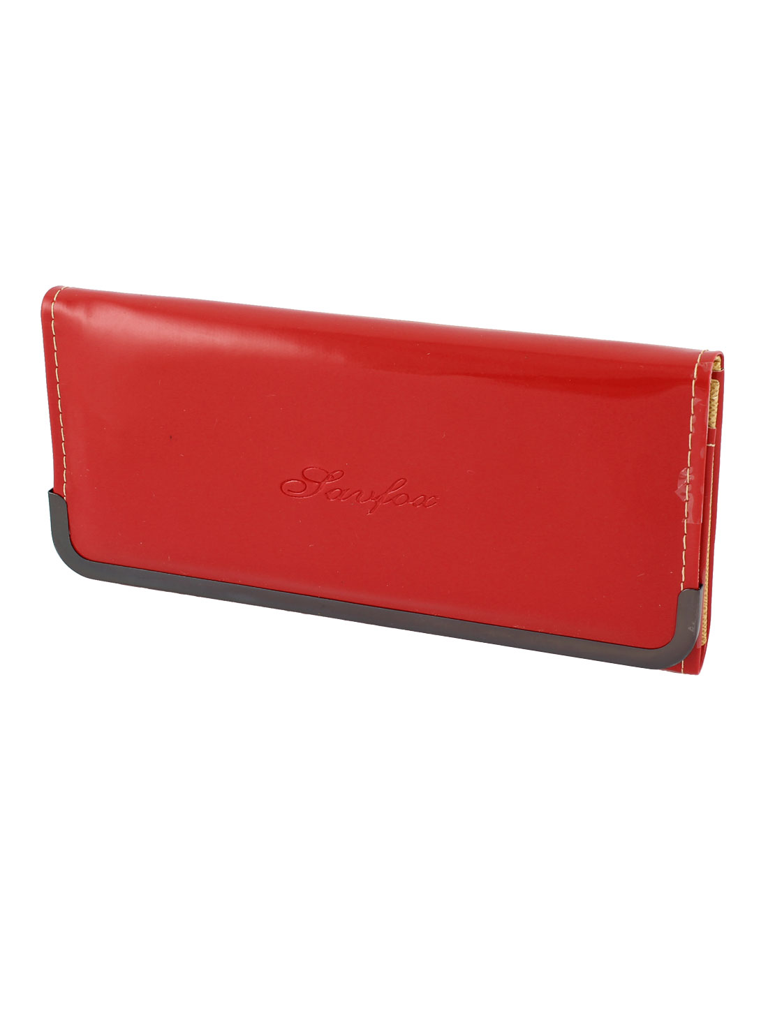 Lady Nylon Lining Patent Leather Button Closure Wallet Handbag Red