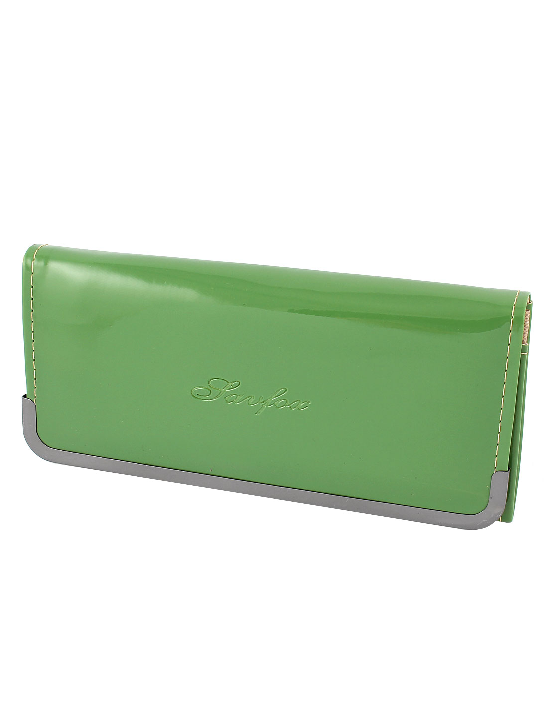 Lady Green Patent Leather 4 Layers Button Closure Inner Zipper Wallet Purse