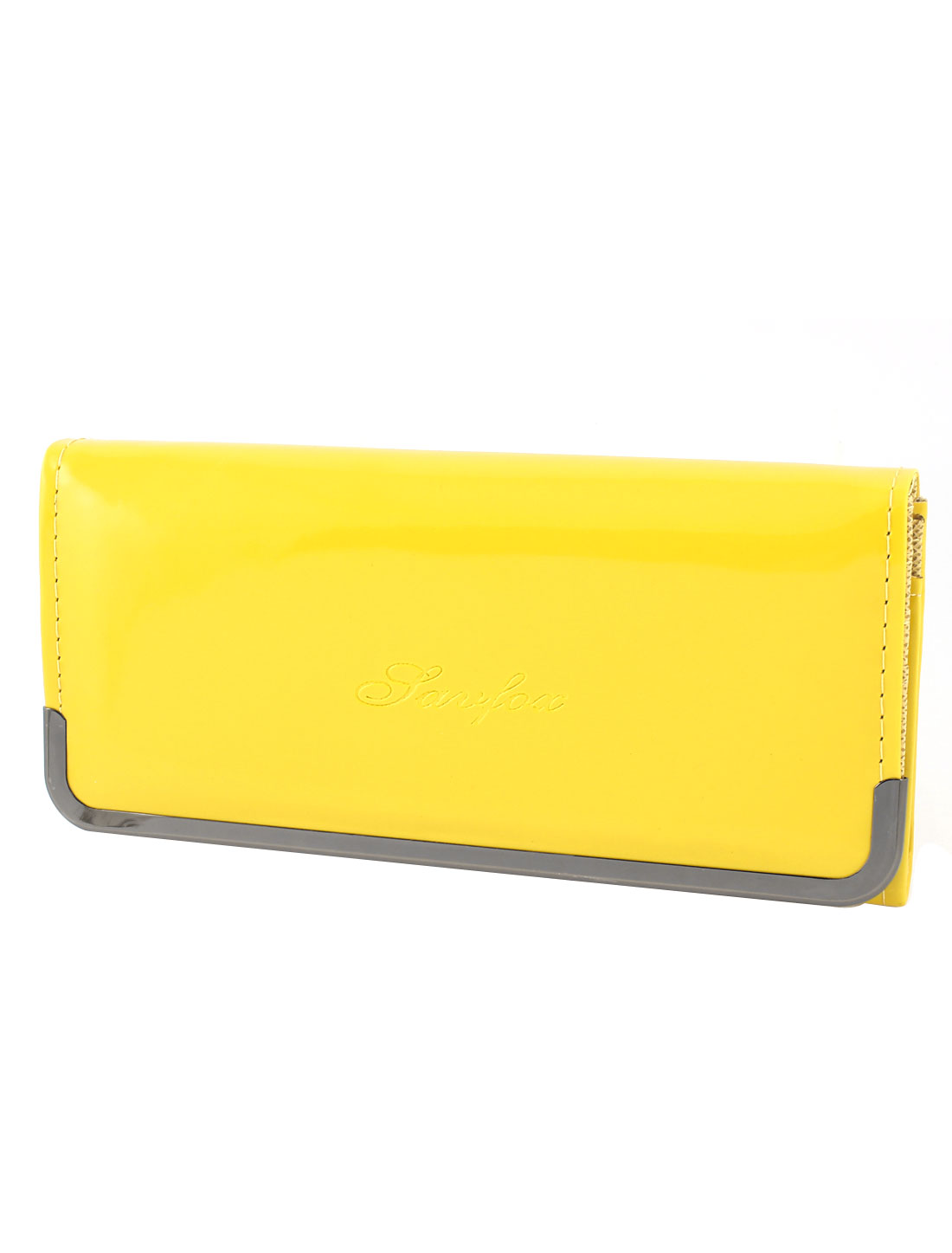 Women Yellow Patent Leather 4 Compartments Card Slots Inner Zipper Handbag Purse