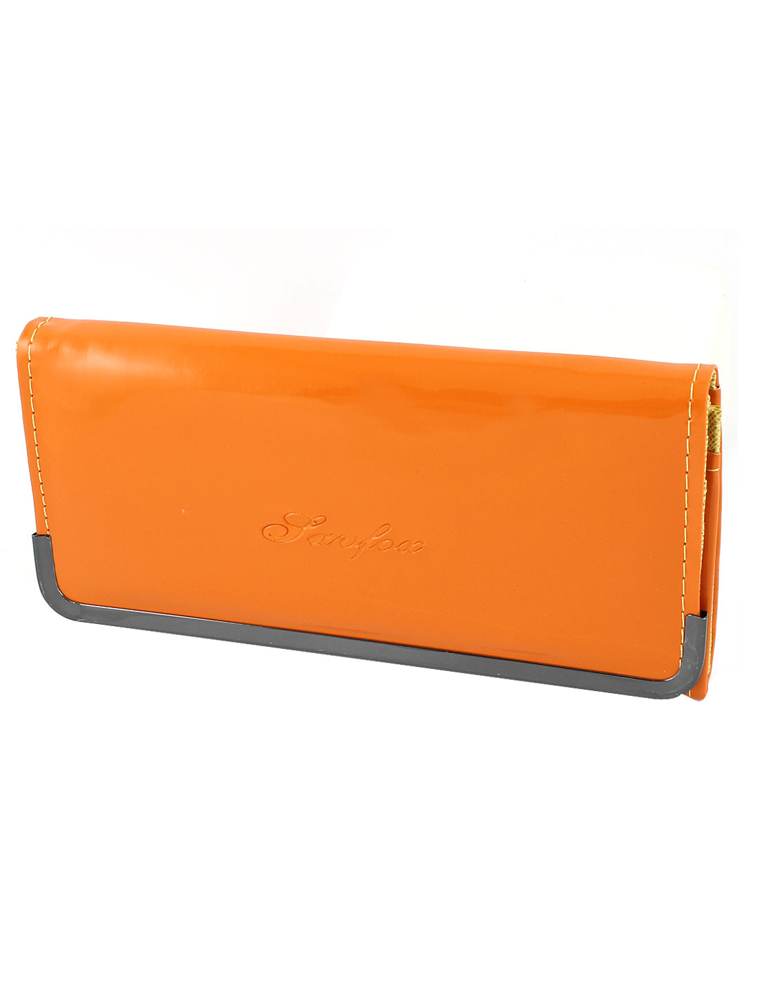 Ladies Metal Frame Orange Patent Leather Card Slots Button Closure Handbag Purse
