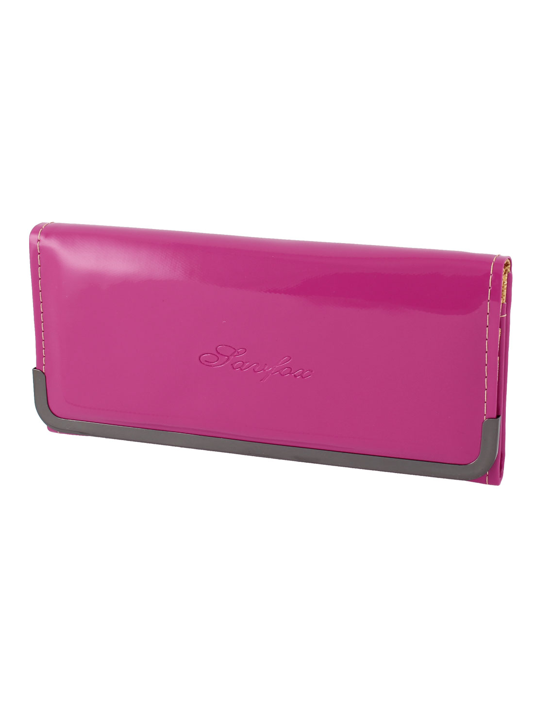 Lady Metal Frame Patent Leather 4 Layers Card Slots Handbag Wallet Purse Fuchsia