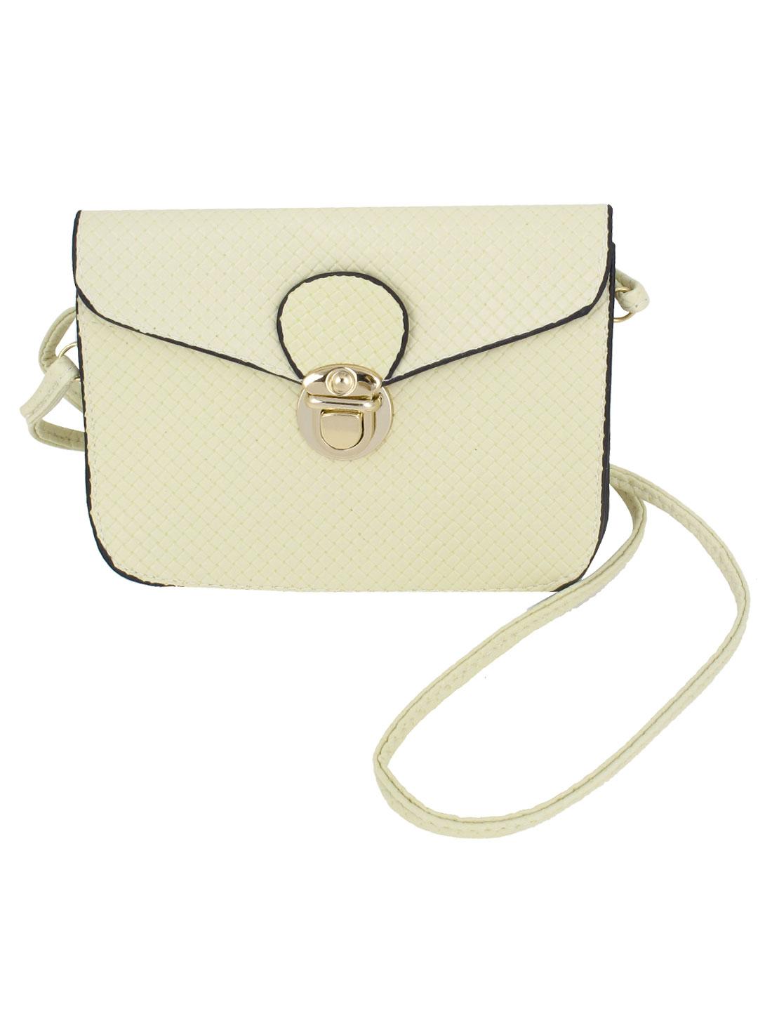 Lady Faux Leather Push Lock Closure Woven Pattern Crossbody Shoulder Bag Beige