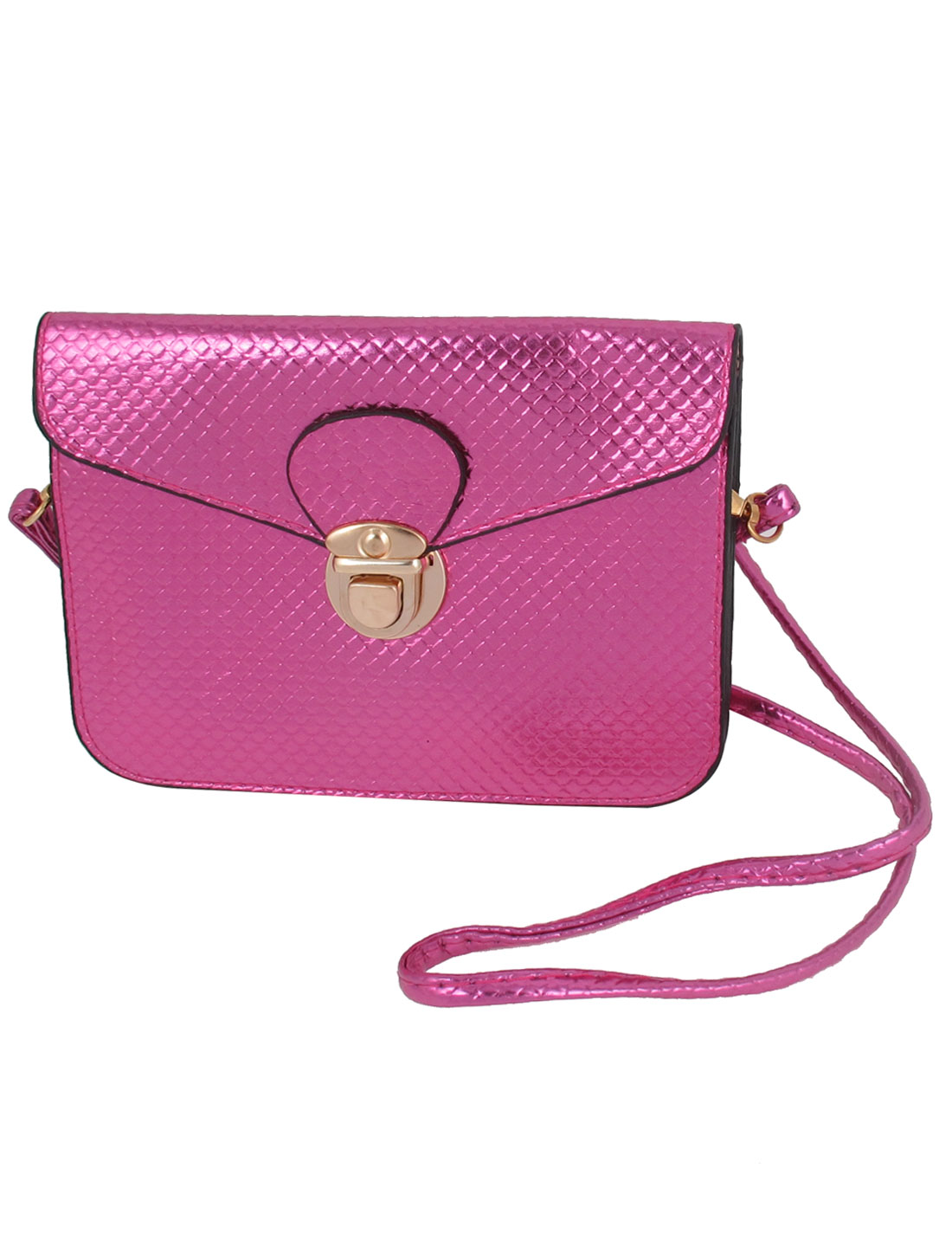 Women Fuchsia Faux Leather Push Lock Closure Cross Body Bag Shoulder Bag Purse