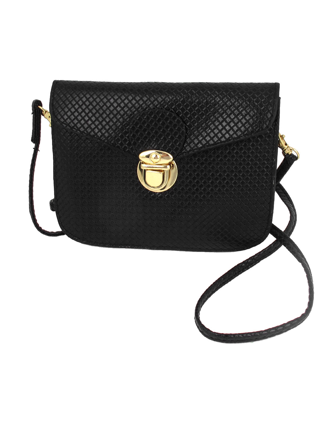 Black Faux Leather Push Lock Closure Black Crossbody Bag Handbag Purse for Lady