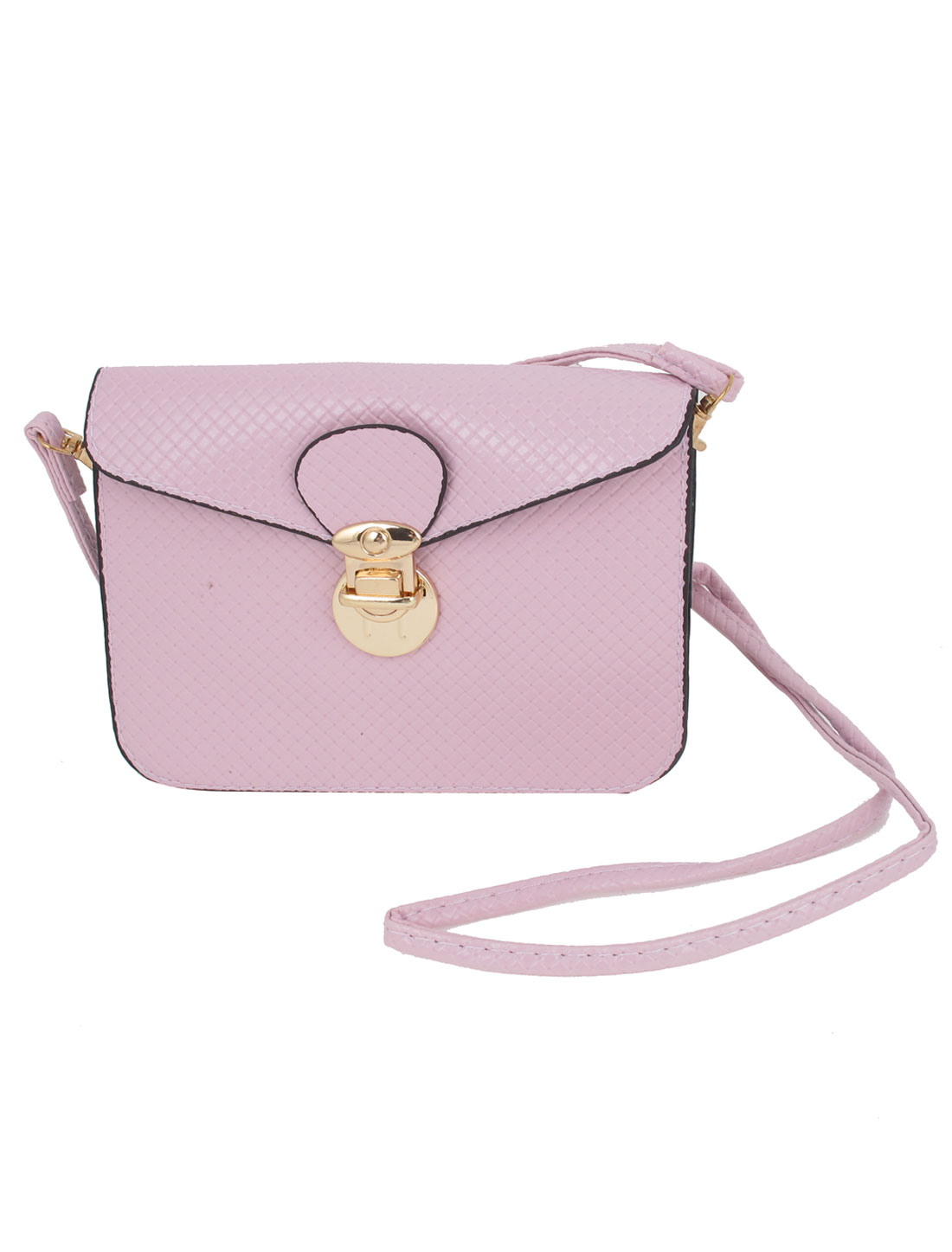 Light Purple Faux Leather 3 Layers Push Lock Closure Purse Handbag for lady