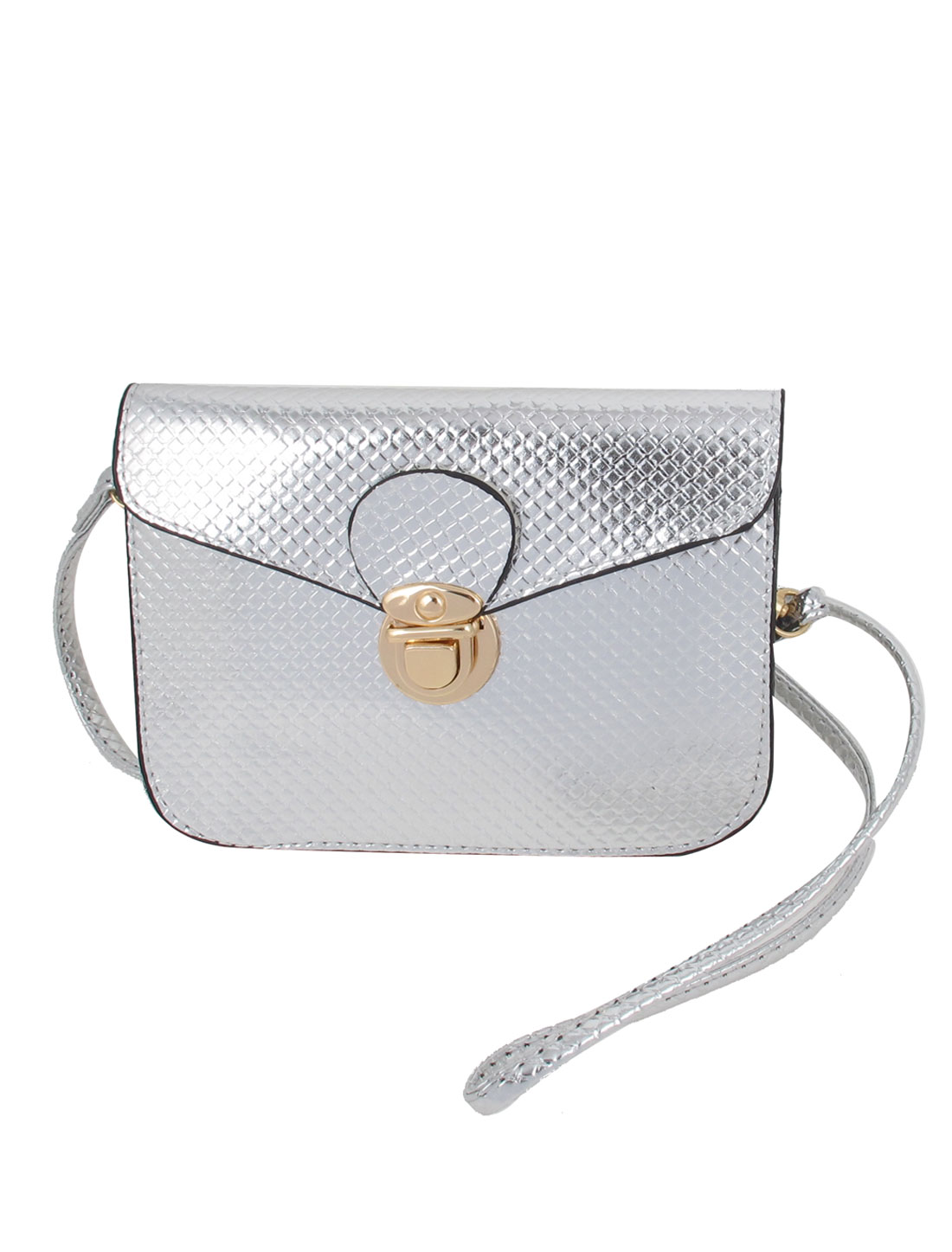 Ladies Silver Tone Faux Leather Push Lock Closure Woven Pattern Crossbody Bag