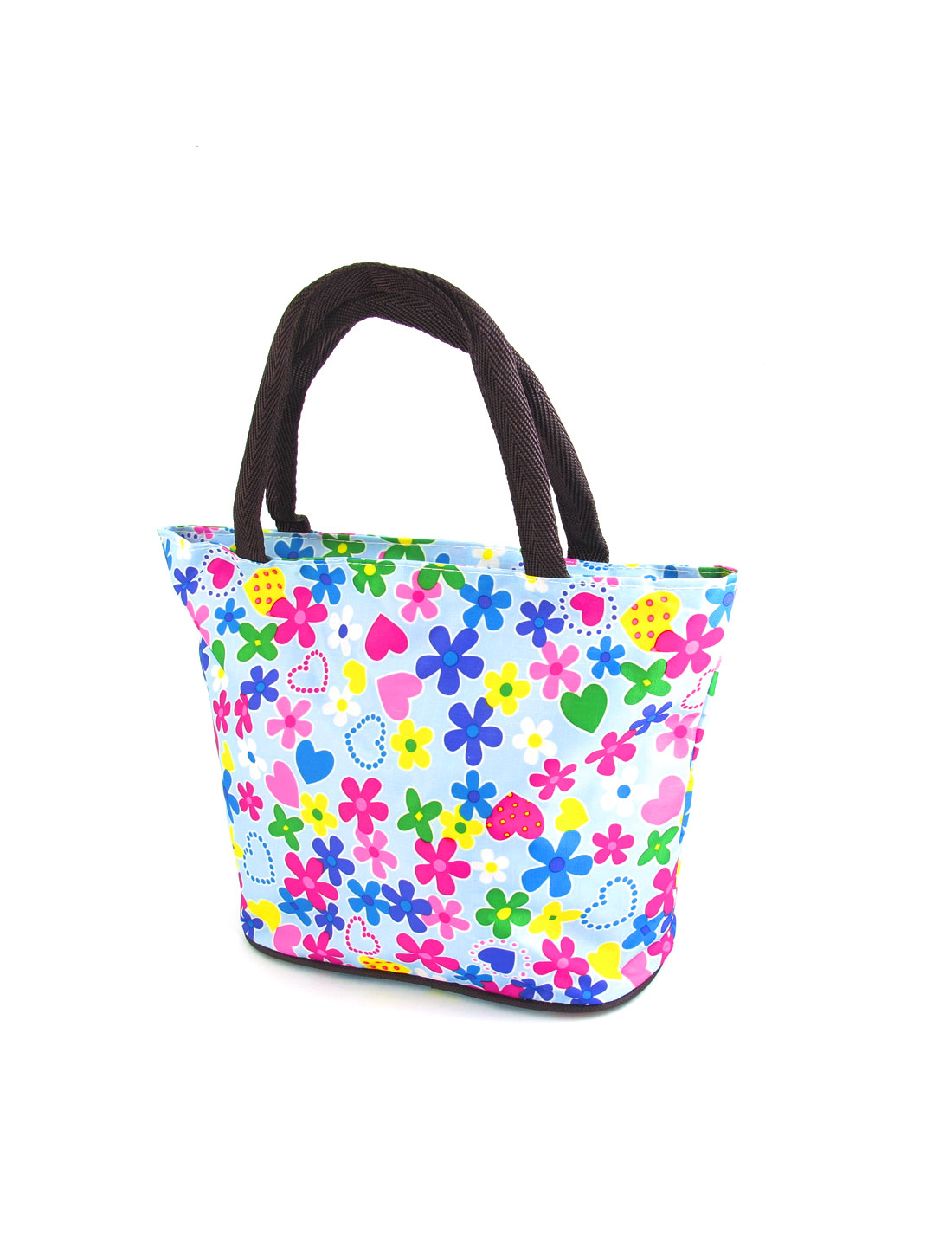 Ladies Portable Flower Heart Pattern Oxford Cloth Waterproof Handbag Totes