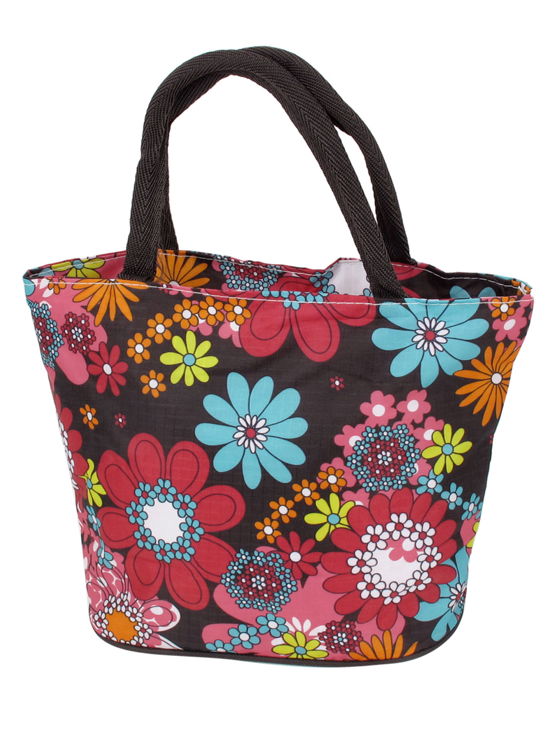 Ladies Floral Pattern Oxford Cloth Nylon Lining Zippered Handbag Tote Bag